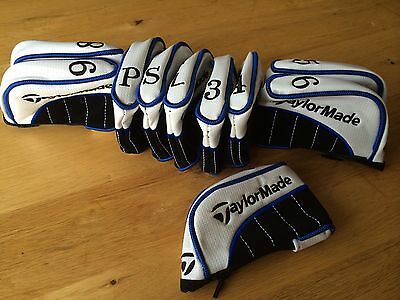 10 new taylormade white / blue pu leather golf club iron head covers headcovers
