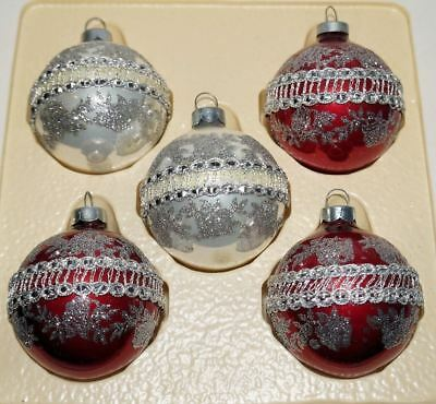 5 Vintage Victorian Glass Christmas Ornaments Embroidered Band Trim Rauch