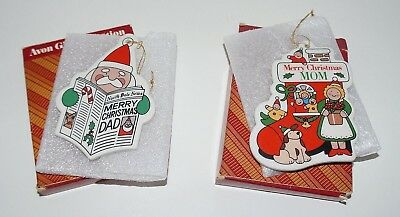 2 Vintage Avon Mom and Dad Ornaments Holiday Greetings Porcelain
