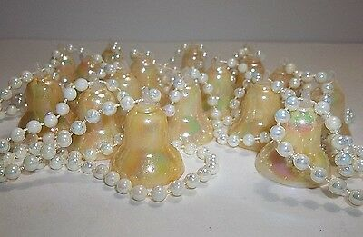 Vintage Plastic Christmas Tree Garland IRIDESCENT BELLS Pearl Beads 100""