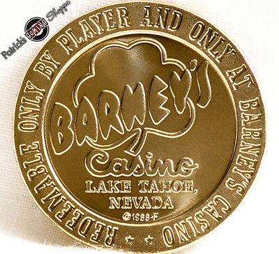 $1 Proof-Like Brass Slot Token Barney's Casino 1966 Fm Lake Tahoe Nevada Coin