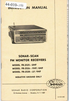 SONAR Manual 44-010-086 Sonar Scan FM Monitor Receivers FR-2525, 2526, 2528