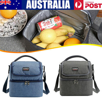 Dual Compartment Insulated Cooler Lunch Box Camping Picnic Shoulder Bag Tote AU