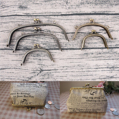 Retro Alloy Metal Flower Purse Bag DIY Craft Frame Kiss Clasp Lock Bronze QW