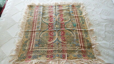 """Antique Victorian Era TAPESTRY Side Fringed TABLE COVERING 31""""X31"""" Gold,Blue,Red"""