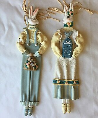 Midwest Of Cannon Falls Cynthia Madrid Rabbit Doll Couple Poly Resin Wood Easter