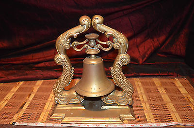 """Antique Vintage A Large Brass Bell on Dolphin Stand 12 1/4""""x10 3/8"""""""