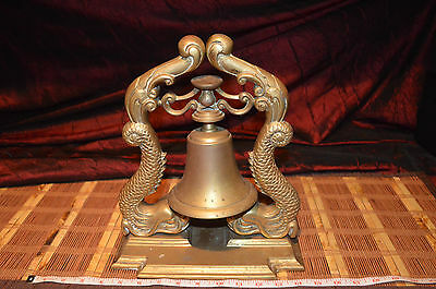 "Antique Vintage Heavy Large Brass Bell On Dragon Stand 12 1/4""x10 3/8"""