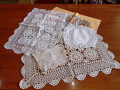 Lot Of 5 X Vintage Battenburg And Crochet Milk Jug Cover, Doilies, Runners Etc.