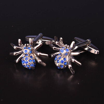 Blue Diamond Spider Silver Cuff Links Men's Novelty Insect Bug Fashion Cufflinks