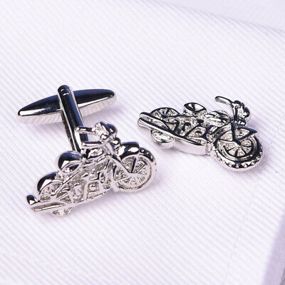 Silver Chrome Motorcycle Cuff Links Men's Novelty Fashion Jewelry Cufflinks B2B