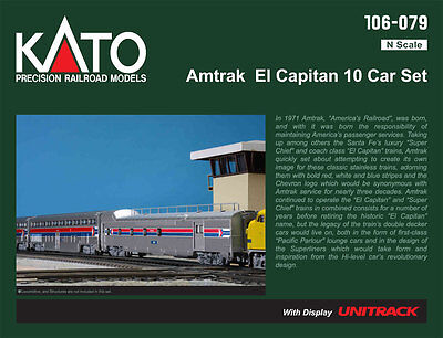 "kato 106-079  ""EL CAPITAIN"" AMTRAK 10 car set ,LAST OF THEM"