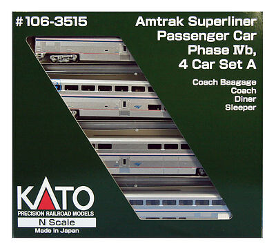 "kato 106-3515  ""AMTRAK "" SUPERLINER PH-IVB ,SET -A , 4 car set  (ADD-ON SET )"