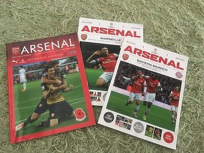 3 Arsenal Programmes , Champions League North London Derby