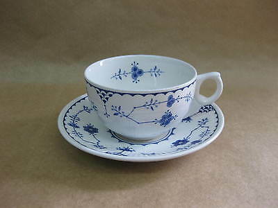 Vintage Furnivals 'Denmark' Cup & Saucer ~ Blue & White English Pottery