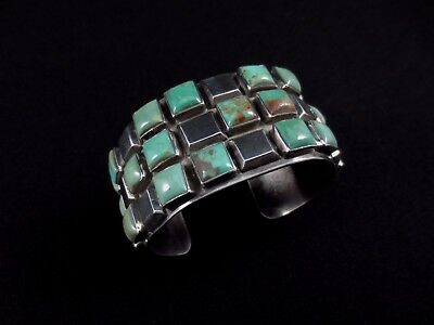 Navajo Bracelet - Sterling Silver and Turquoise - Edison Benally