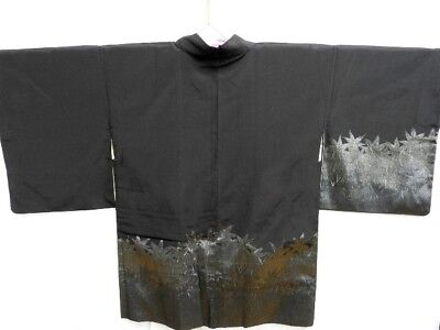 Vintage Japanese Ladies' Black Kimono Haori Evening Jacket 'Silver Leaves' 12-14