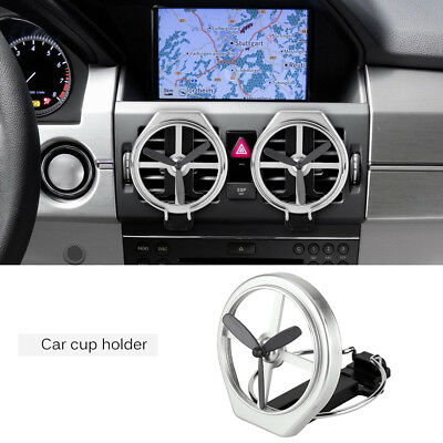 1x Auto Vehicle Air Outlet Vent Drink Bottle Cup Holder Stand Fan Folding Silver
