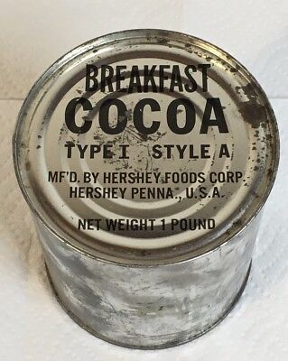 US Hershey Chocolate Cocoa Breakfast Type 1 Tin Ration MRE Can 1 Pound A C Mess