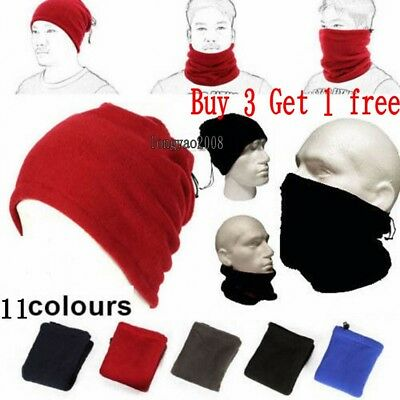 Winter Warm Fleece Snood Scarf Neck Warmer Beanie Hat Ski Balaclava Men Women