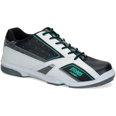 Men's Bowling Shoes Storm Blizzard White Black Teal, Semi Pro, Right Handed