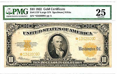 1922 $10 Gold Certificate STAR, Fr. 1173*, Very Fine (VF-25) Condition (PMG)