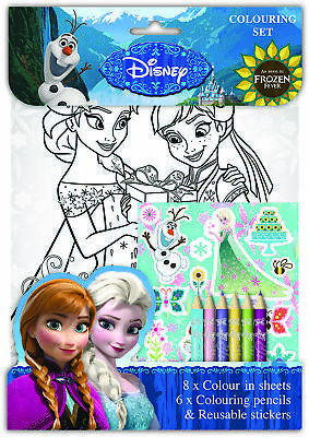 Disney Frozen Fever Colouring Set Childrens Activity Stickers Party Favour Gift