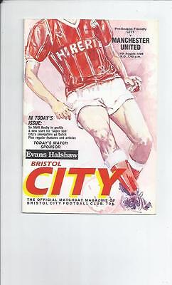 Bristol City v Manchester United Friendly Football Programme 1989/90