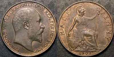 1902 Very High Grade LOW TIDE Ed VII Halfpenny Slabbed CGS 60 (Extremely Fine)