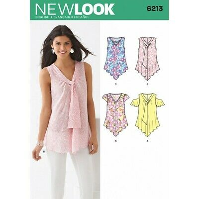 New Look Misses' Tops with Neckline and Sleeve Sewing Pattern 6213