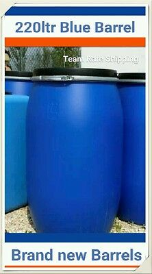 Plastic Storage Drum, Blue Barrel With Lid & Clamp, 220 Litre Water Butt, New