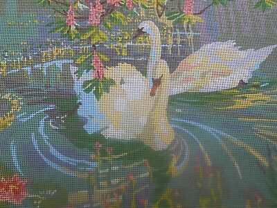 """Penelope """"Swans"""" Printed Tapestry Canvas 2 Free wools included"""