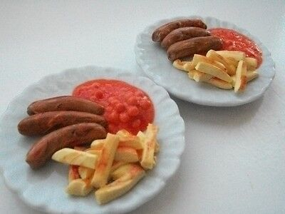 Barbie Sindy doll food sausages and chips  for two