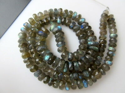 4mm To 9mm Faceted Labradorite Rondelle Gemstone Beads 19 Inch Strand - GDS872