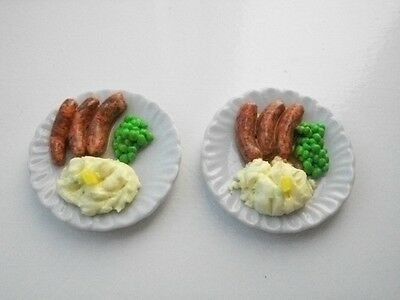 Barbie Sindy doll food sausages and mash for two