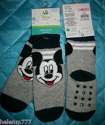 Disney Size 00 - 1  ( 0 - 6 Months ) Baby Mickey Mouse Socks Non Slip Sole