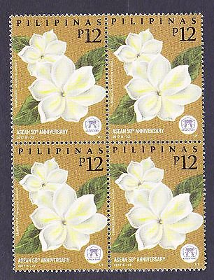 Philippines Asean 50th Anniversary, Flowers Block/4  Mint NH