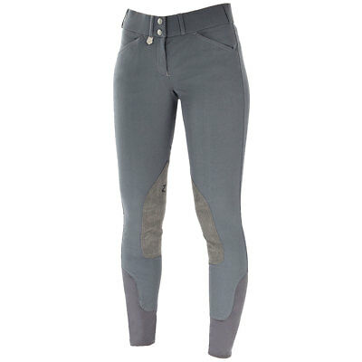 """36"""" Horze Grand Prix Womens Extend Leather Knee Patch Stretch Breeches Steelgray"""