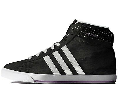 Womens Adidas Neo Black Casual Mid Top Lace Trainers Sneakers Shoes Size 4.5 ca8543fa3