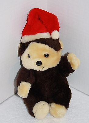 "1982 Wallace Berrie MUGGSIE MONKEY 10"" Xmas Brown Plush Soft Toy Santa Hat VTG"