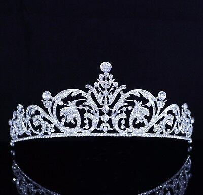 Superb Clear Austrian Rhinestone Crystal Tiara Crown Bridal Prom Wedding T20