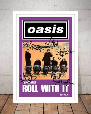 Liam Gallagher Oasis Roll With It 1995 Poster Autographed Signed Photo Print