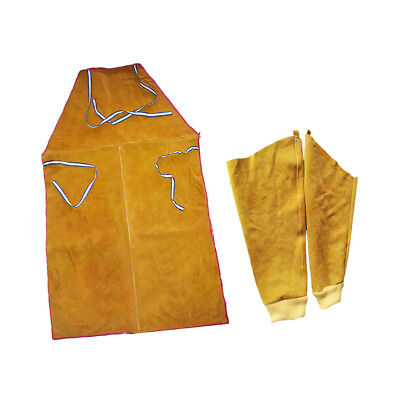 Yellow Welder Apron Welding Protection Flame Resistant Bib + Sleeves Cuffs
