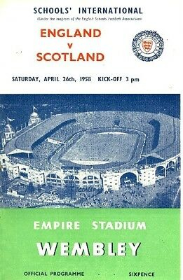 ENGLAND v Scotland (School International, Wembley) 1958