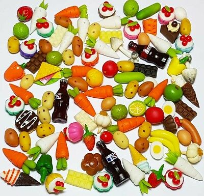 100 Dollhouse Miniature Mixed Food Set *Doll Mini Cakes Fruit Vegetable Candy z2