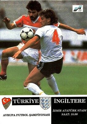 TURKEY v England (Euros) 1991 RARE includes Team sheet