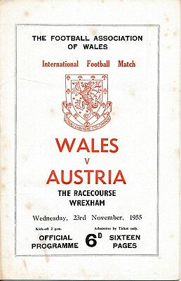 WALES v Austria (Friendly International @ Wrexham) 1955