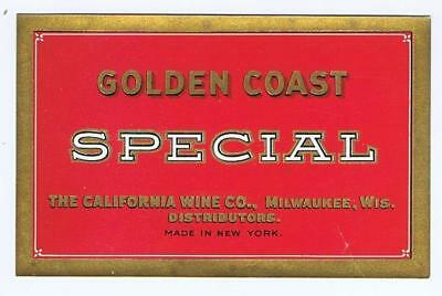 Golden Coast Special, The California Wine Co Milwaukee Wis, NY antique label #73