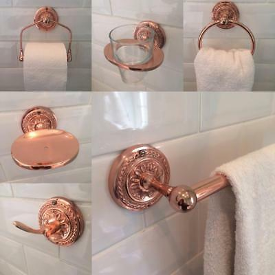 Copper / Rose Gold Brass Bathroom Accessories Toilet Roll Holders Accessory Set