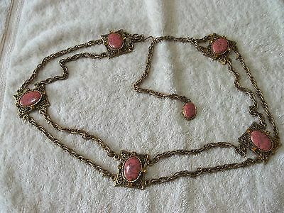 "Vintage ""LJM"" Gold Tone Metal 2 Strand Chain Belt With Rose Color Stones"